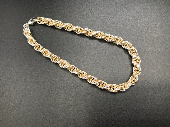 Silver/Gold Double Spiral Chain Maille Bracelet