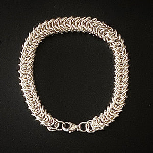 Silver Box Weave Chain Maille Bracelet
