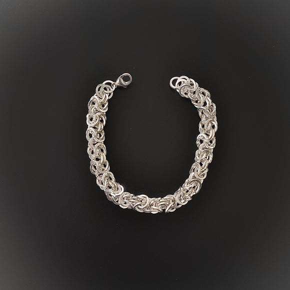 Silver Square Wire Byzantine Chain Maille Bracelet