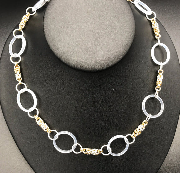 White Agate and Byzantine Chain Maille Necklace