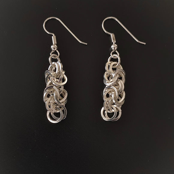 Square Wire Byzantine Silver Earrings