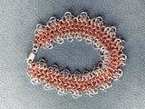 Sterling silver and copper 4-in-1 chain maille bracelet