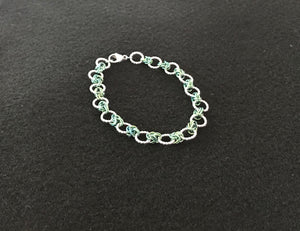 Silver and Niobium Rings and Knots Chain Maille Bracelet
