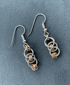 Sterling Silver and Gold Celtic Chain Maille Earrings