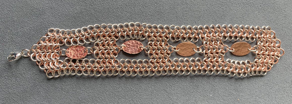 Silver and Copper 4-in-1 Chain Maille Bracelet