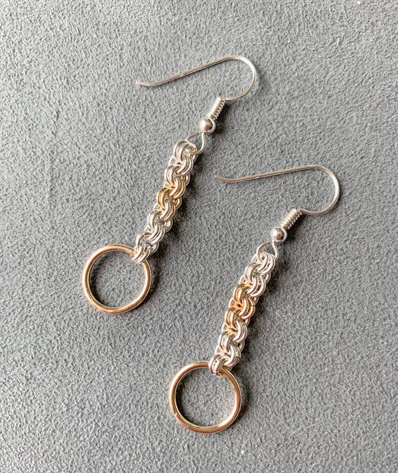 Silver and Gold Enhanced Chain Maille Earrings