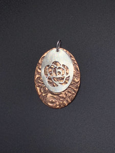 Oval Copper and Rose-Pierced Sterling Silver Pendant