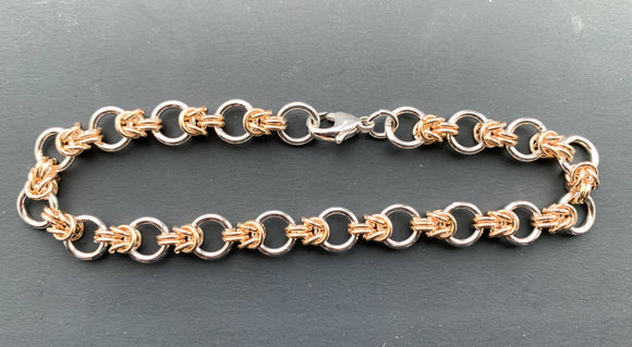 Rings and Knots Silver and Gold Chain Maille Bracelet