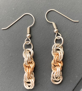 Silver and Gold Double Spiral Earrings