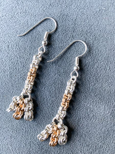 Silver and Gold 2x2 Chain Maille with Dangle Earrings