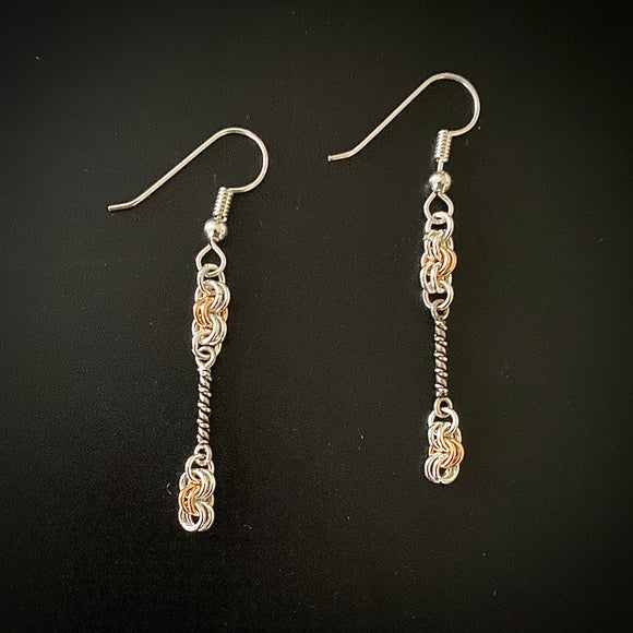 Silver and Gold Dangle Chain Maille Earrings