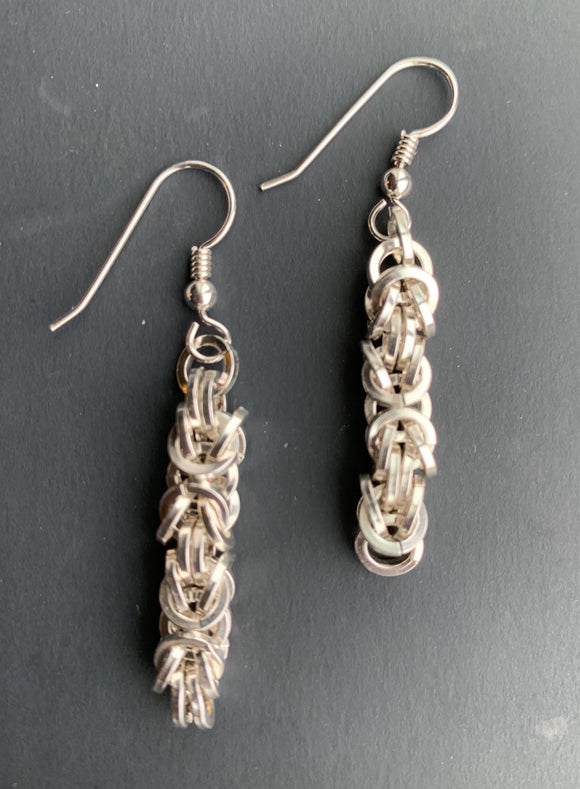 Sterling Silver Byzantine Chain Maille Earrings