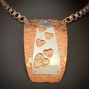 Copper Shield with Sterling Silver Hearts Necklace