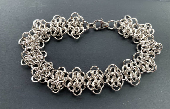 Sterling Silver Ruffled Chain Maille Bracelet