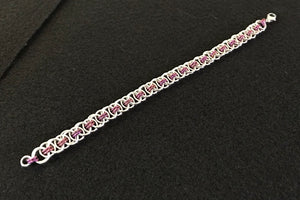 Silver and Niobium Celtic Weave Chain Maille Bracelet