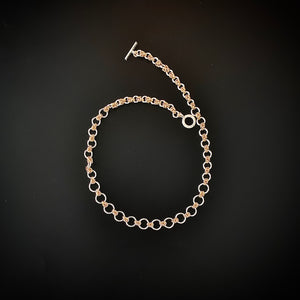 Graduated Knots and Rings Silver and Gold Chain Maille Necklace