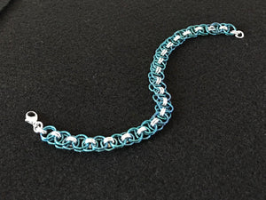 Silver and Niobium Bracelet with a Celtic Weave