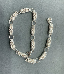 Adjustable Sterling Silver Byzantine Bracelet/Anklet