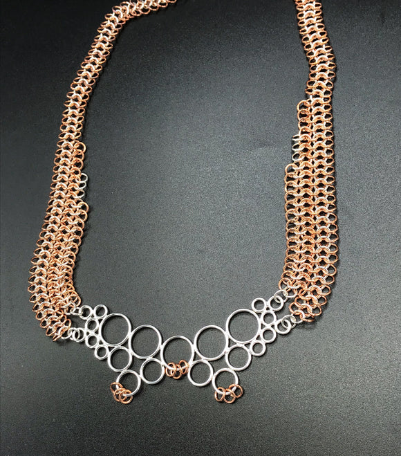 Sterling and copper Pendant on Sterling and Copper Chain Maille