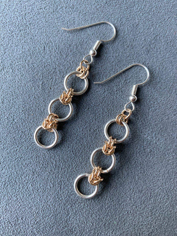 Sterling Silver and Gold Knots and Rings Earrings