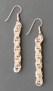 Sterling Silver Double Spiral Chain Maille Earrings