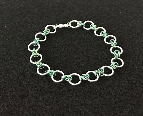 Silver and Niobium Rings & Knots Chain Maille Bracelet