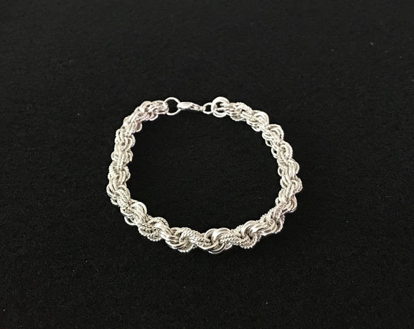 Silver and Twist Silver Double Spiral Chain Maille Bracelet