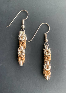 Gold and Silver Byzantine Chain Maille Earrings