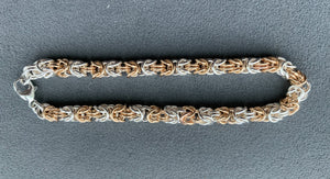 Silver And Gold Byzantine Chain Maille Bracelet