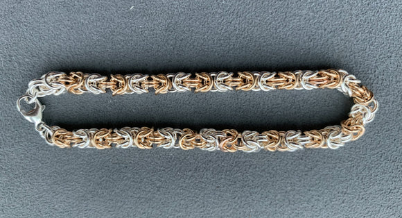 Sterling Silver And Gold Filled Byzantine Chain Maille Bracelet