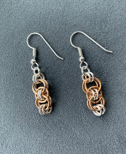 Gold and Silver Celtic Chain Maille Earrings