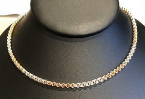Silver and Gold 2 x 2 Chain Maille Necklace