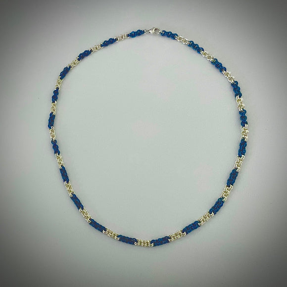Blue and Silver 2x2 Chain Maille Necklace
