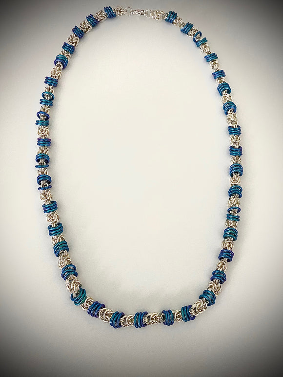 Three Blue Rings Silver Chain Maille Necklace