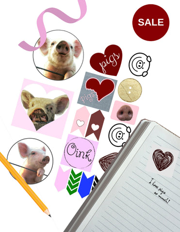 Pig Stickers -- One Page Sheet