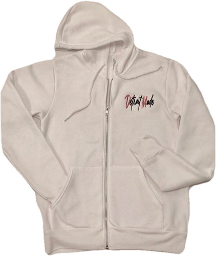 Clearance! - White Unisex Embroidered Full-Zip Hoodie
