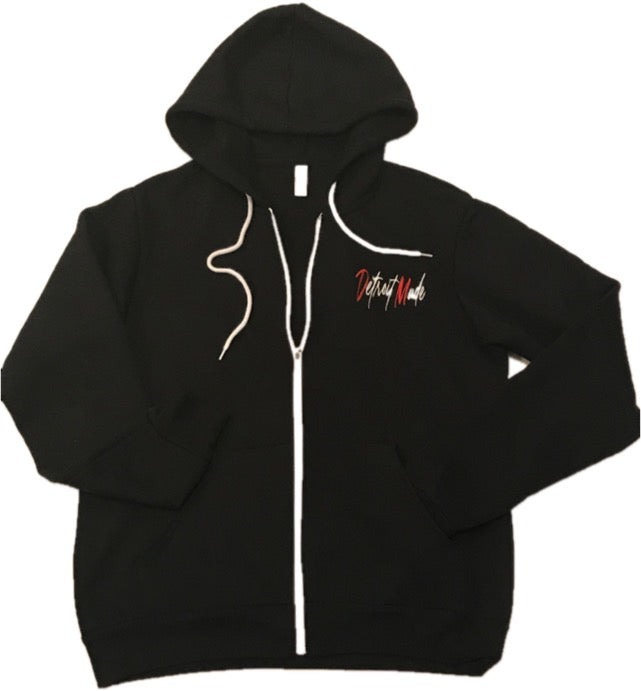 Unisex Embroidered Full-Zip Hoodie (Black, White, & Heather Grey)