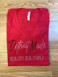 Red and White Bling Fitted Tee (Crew Neck & V-Neck)