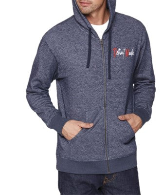 Denim Embroidered Full Zip Hoodie