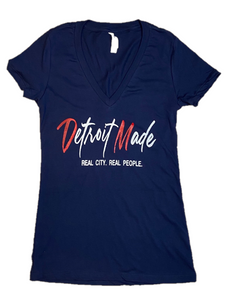 New! Favorite Fitted T-Shirt -Navy V-Neck