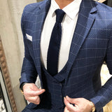 Blue Tie and White Pocket Square