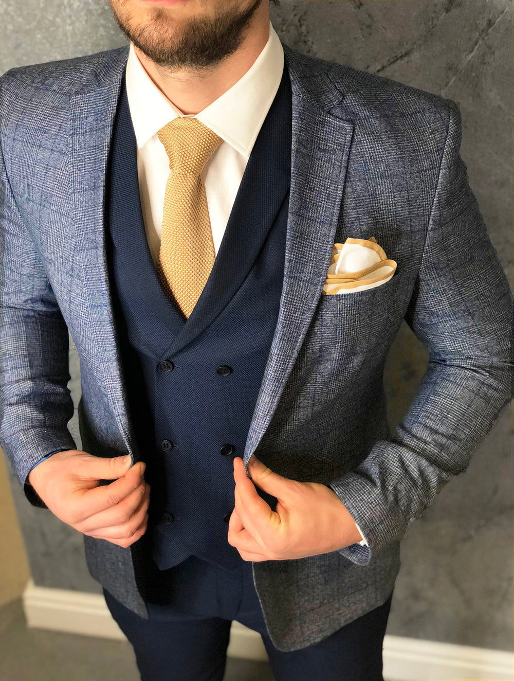 Champagne Tie and Dual Colour Pocket Square