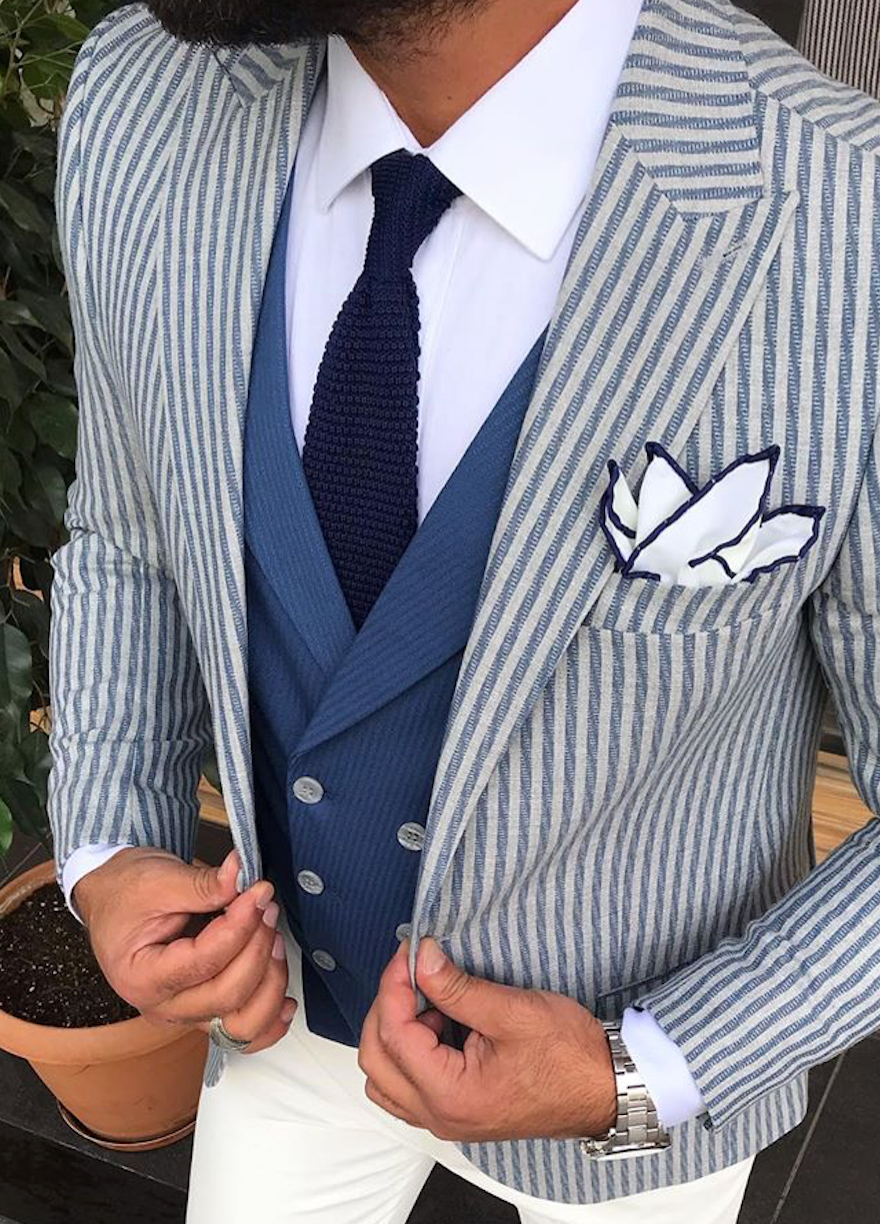 Blue Tie and Colour Pocket Square