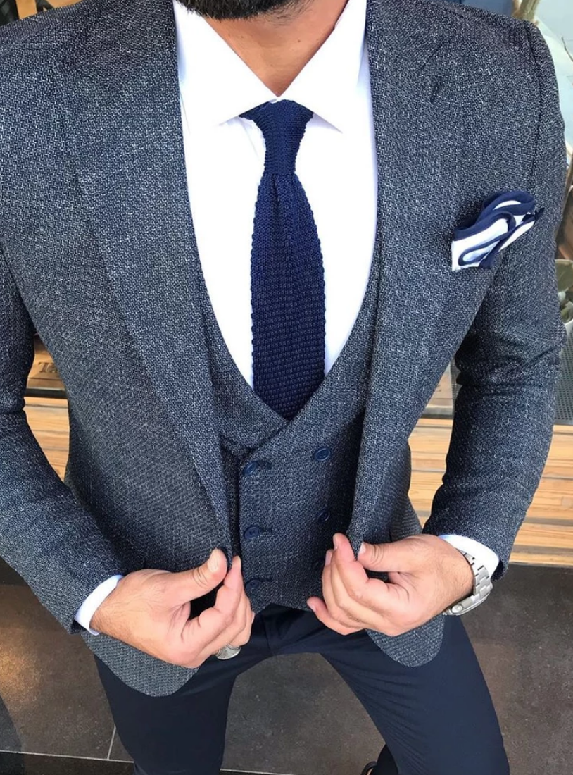 Blue Tie and Dual Colour Pocket Square