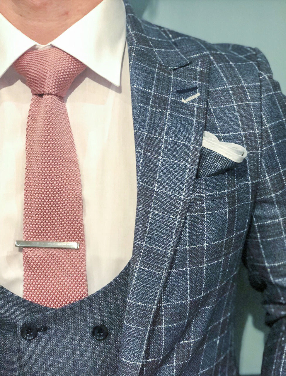 Pastel Pink and Textured Pocket Square