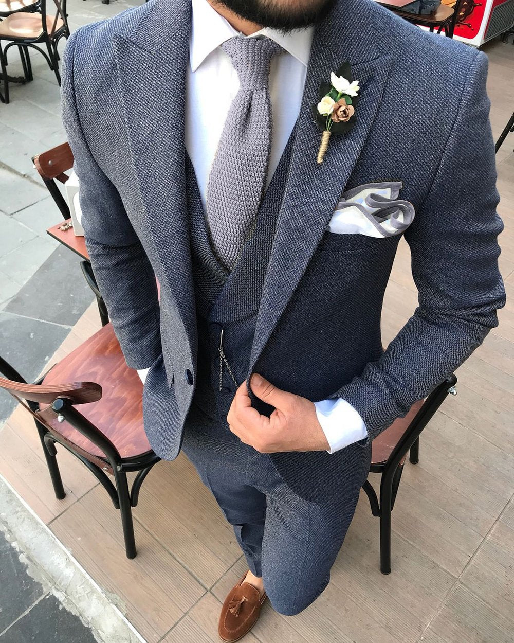Steel Tie and Dual Colour Pocket Square