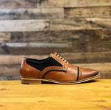 Genuine Leather Navy / Tan Shoes