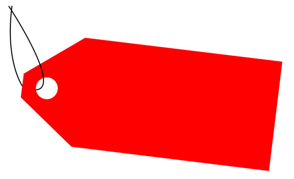 Red label  on a white background