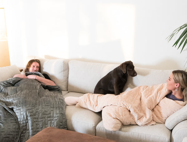 Couple under their beige and grey weighted blankets with a puppy