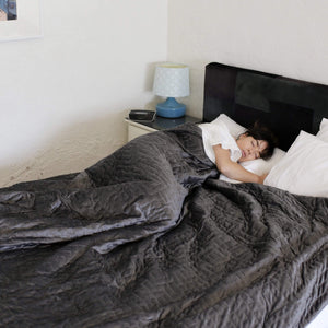 king weighted blanket in grey